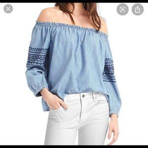 Gap off the shoulder denim Shirt